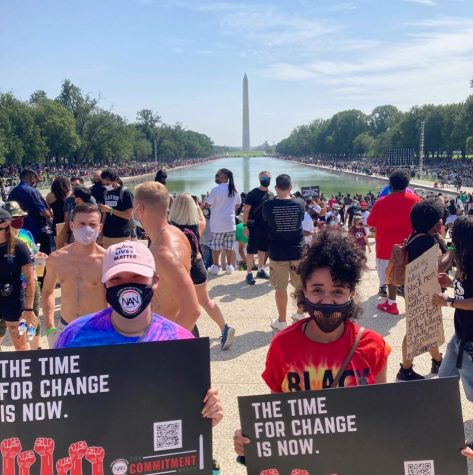 MHS graduaate Rachel Galante, left, poses on the mall in Washington, D.C., where thousands of people gathered recently to denounce racism and protest police brutality on the anniversary of the march in 1963.